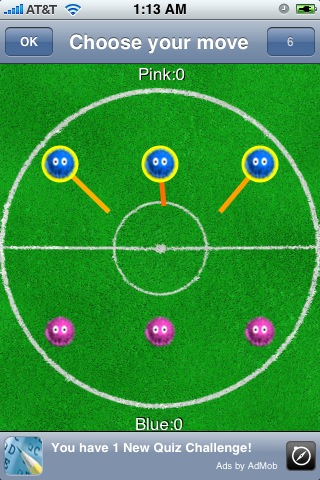Screenshot Fuzzball Free: A multiplayer Billiards / Soccer strategy game against online friends over 3G internet