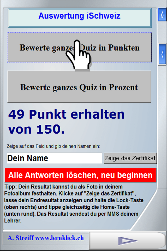 Screenshot iLake quiz about Swiss lakes